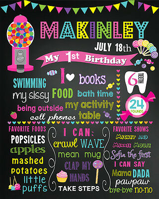 Birthday CandyLand Chalkboard poster sign for a girl chalk board candy (54)