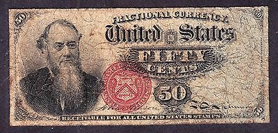 US 50c Fractional Currency Stanton 4th Issue FR 1376 F-VF -006