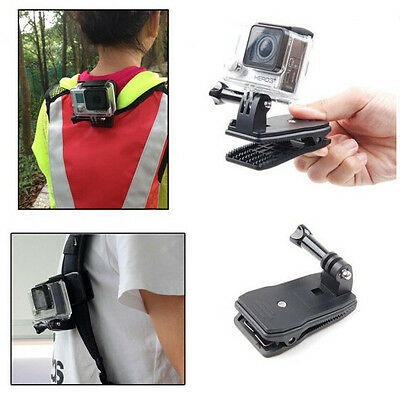 Portable 360 Rotary Backpack Hat Mounts Clip Fast Clamp Mount for Sports Camera