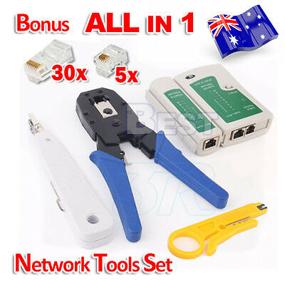 RJ45 RJ11 CAT5 CAT6 LAN Phone Data Network TOOL KIT+Modular Plug+Cable Tester