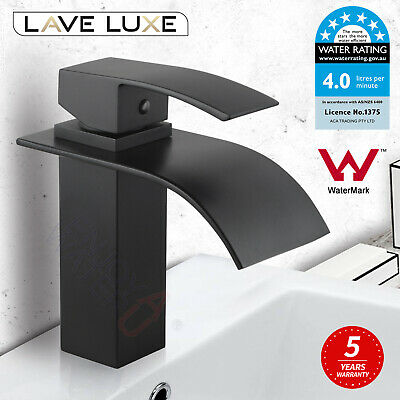Brass Square Waterfall Spout Basin Vanity Shower Mixer Tap Faucet Flick Black