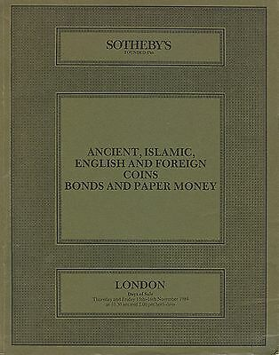 SOTHEBY´S Ancient, Islamic, English and Foreign Coins Bonds and Paper Money