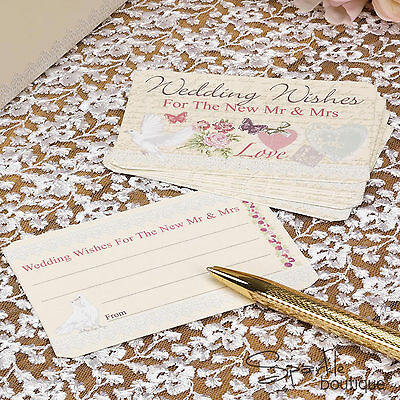 WITH LOVE WEDDING WISHES ADVICE CARDS-Guest Book Alternative-Vintage/Shabby Chic