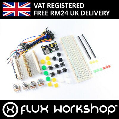 Base Electronics Kit MB-102 830 Point Breadboard Power Jumper Flux Workshop