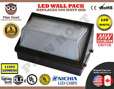 LED Wall Pack 120W Outdoor Industrial Standard Commercial Replaces 500W HID