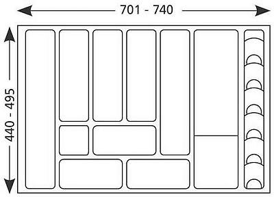 Cutlery Drawer Inset 701-740 mm can be shortened 80 CM Cutlery Tray 517169 .lp