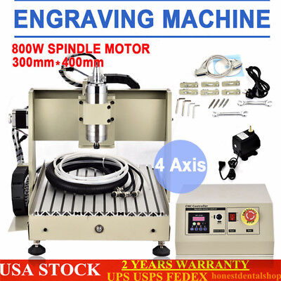 4 Axis CNC Router Engraver Milling 3D Engraving Drilling Machine 3040 +VFD USA