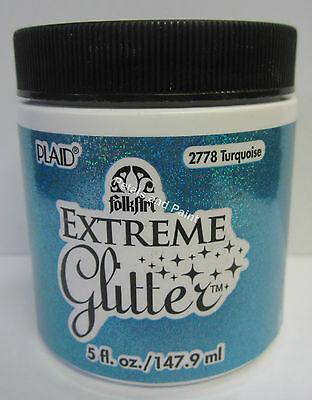 New Plaid Folk Art Extreme Turquoise Glitter Acrylic Paint 5 fl.oz/147.9ml #2778