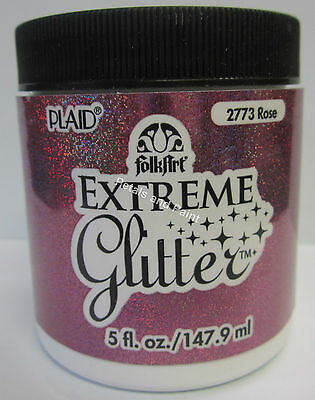 New Plaid Folk Art Extreme Rose Glitter Acrylic Paint 5 fl.oz/147.9ml #2773