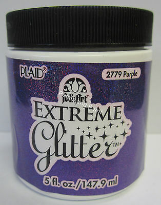 New Plaid Folk Art Extreme Purple Glitter Acrylic Paint 5 fl.oz/147.9ml #2779