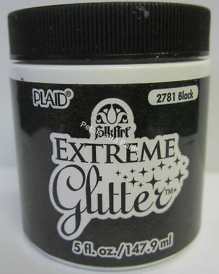 New Plaid Folk Art Extreme Black Glitter Acrylic Paint 5 fl.oz/147.9ml #2781