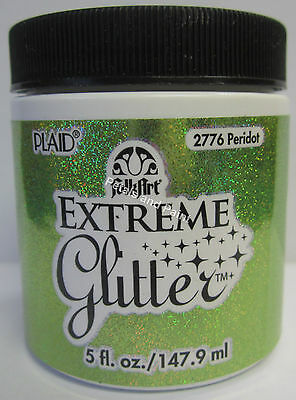 New Plaid Folk Art Extreme Peridot Glitter Acrylic Paint 5 fl.oz/147.9ml #2776