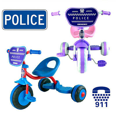 Police Bike Tricycle Trike Bicycle Toddler Kid Child 3 Wheels Car Ride On Toy