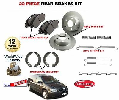 For Chrysler Grand + Voyager Rear Brake Discs +  Pads + Hand Shoes + Fitting Kit