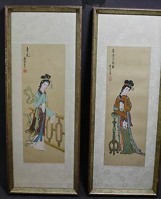 2 VINTAGE ORIGINAL SIGNED FRAMED CHINESE WATERCOLORS  15.5''x 6''