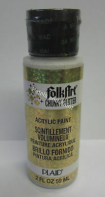 New Plaid Folk Art Chunky Gold Glitter Acrylic Paint 2 fl.oz/59ml #2858