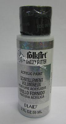 New Plaid Folk Art Chunky Silver Glitter Acrylic Paint 2 fl.oz/59ml #2870