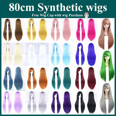 80cm Long Straight Sleek Full Hair Wigs with Side Bangs Cosplay Costume Women