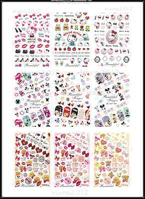 New Nail Art Water Hello Kitty Heart Bow Mickey Mouse Teddy Bear Decal Stickers