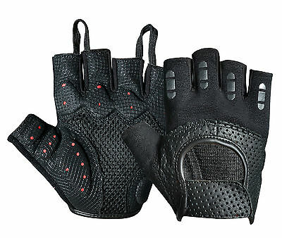 New Padded Cycling Gloves Perforated Leather Bike Bicycle Fingerless Half finger