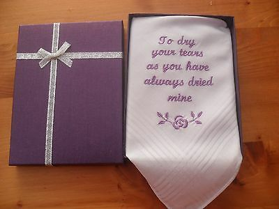 personalised embroidered handkerchief mum/dad of the bride or groom script font