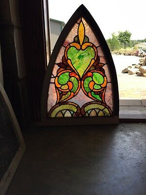 "Sg 248 Antique Gothic Arch Stained Glass Window 22.5"" X 31"" High"