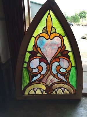 Sg 252 Antique Gothic Arch Stained Glass Window