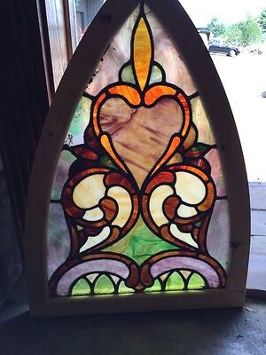 Sg 253 Antique Gothic Arch Stained Glass Window