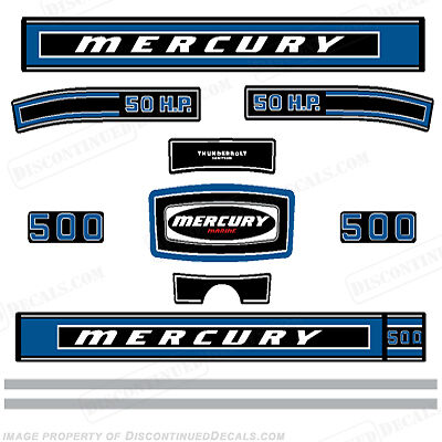 Mercury 1975 50hp Outboard Decal Kit - Discontinued Decal Reproductions!