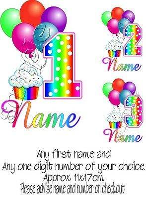Iron Transfer Personalised Birthday Any Name/number Rainbow Cupcake First Second