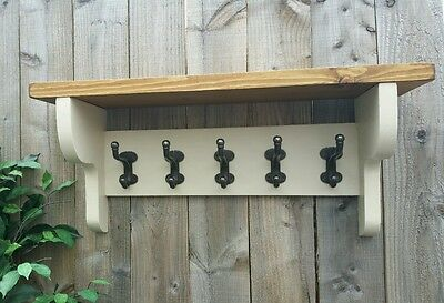 Farrow And Ball Painted Wooden Coat Rack With Extra Heavy Duty Hooks