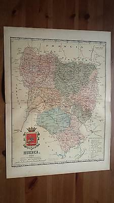 1903 MAPA de Huesca 1901 por Benito Chias y Carbo (Spain Map España Spagna)
