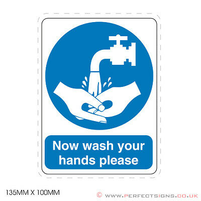 20 X Now Wash Your Hands Printed Stickers Kitchen Sink Food Hygiene (STKPN00061)