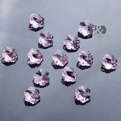 50pcs Pink Crystal Prism Chandelier Decor Parts Faceted Octagon Glass Beads14mm