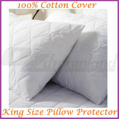 King Size Quilted Pillow Protector 100% Cotton Cover 51x91cm