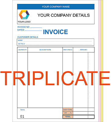 Personalised Triplicate A5 Invoice Book / Pad Print / Ncr / Receipt/ Order