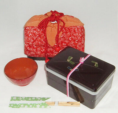 Japanese Lunch Box with the top,Tea-cup and chopsticks set   Urethane paint