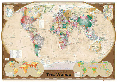 Official World Map Tripel Projection Maxi Poster 91.5 x 61cm Art Education Map