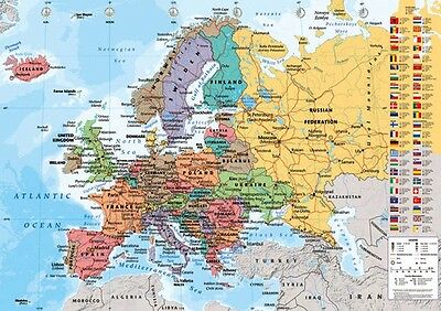 Official European Map Maxi Poster 91.5 x 61cm World Map Art Education New