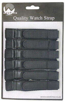 6 x Wholesale Job Lot Mens TA 18/20/22mm Black Nylon Canvas Watch Strap
