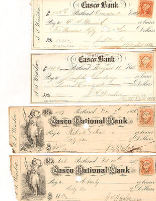 Casco National Bank   Portland stock certificate lot of 4 checks
