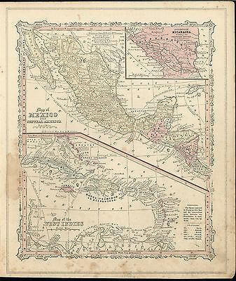 Mexico West Indies 1860 scarce unusual old vintage antique map