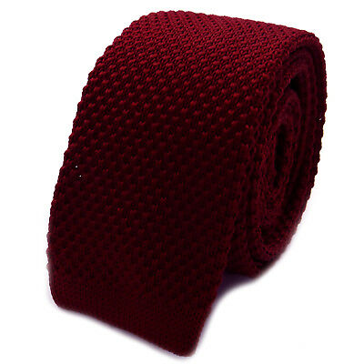 New Luxury Mens Plain Maroon Woven Tie Necktie Solid Knitted Skinny Fashion