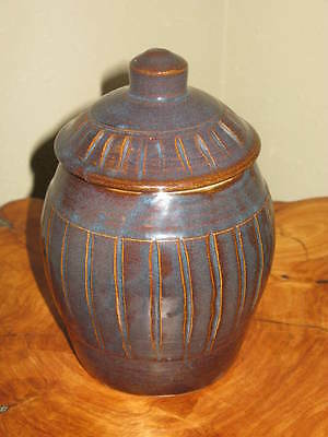 Manthel 95 Beautiful Handmade Stoneware Redware? Pottery Jar With Lid *Signed*