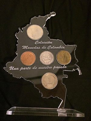Coin collection Colombian coins w/ handmade Colombia map acrylic holder