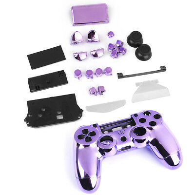 Purple Metal Plated Full Housing Shell Case Button Kit for Sony PS4 Controller