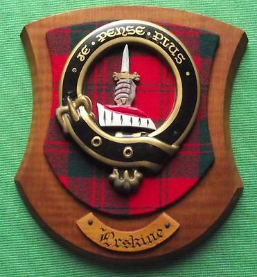 Vintage Scottish Clan Erskine Tartan Oak Plaque Crest Shield