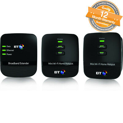 BT Mini Wi-Fi Home Hotspot 500 Powerline Adapter Multi Kit in Black Pack of 3