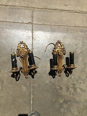Lt 115 One Pair Of Heavy White Metal To Arm Antique Sconces