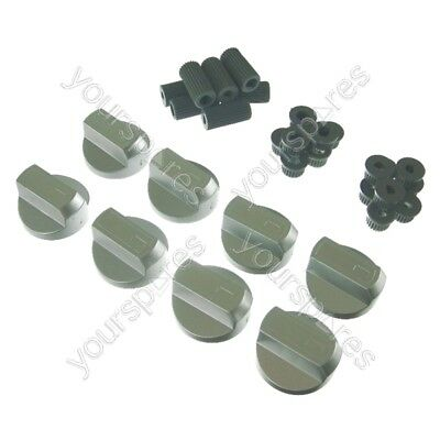 8 X Stoves Universal Cooker/Oven/Grill Control Knob And Adaptors Silver